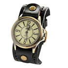 Vintage Mens Womens Steampunk Watches Big Wide Leather Wristband Strap Bracelet