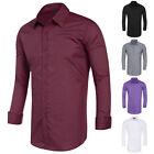 Fashion Men's Slim Fit Solid Long Sleeve Business UK Wedding Plain Dress Shirts
