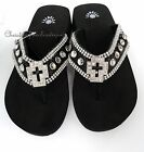 NIB WOMENS WESTERN STYLE CROSS RHINESTONE CRYSTAL BLING WEDGE FLIP FLOP SANDALS