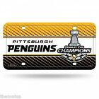 PITTBURGH PENGUINS NHL HOCKEY STANLEY CUP CHAMPIONS LICENSE PLATE MADE IN USA