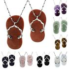 1Pair Woman Jewelry Flip Flop Stone Shoes Slippers Pendant Silver Necklace+Chain