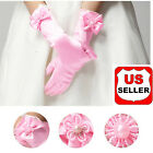 Внешний вид - Elegant Pearl  Bow Flower Gril's Dress Long White Gloves for Kids Baby Girl