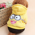 Warm Winter Pet Coral fleece Clothes Puppy Hoodie Coat Small Dog Minions Costume