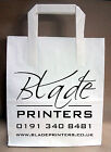 White Paper Carrier bags printed with your 1 colour text logo Inc design / post