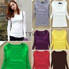 Basic Round Neck Women Long Sleeve Fitted Solid Tops Plain T-Shirt Blouse TXCL