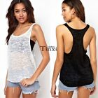 New Women Sexy Transparent  Loose Casual Vest Blouse Tank Top Sleeveless T Shirt
