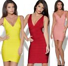 FD2138 Women Sexy V-Neck Bodycon Cocktail Evening Party Dress Bandage Dress