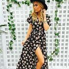 Women Bohemian Full Length Maxi Floral V-neck Short Sleeve Wrap Chiffon Dresses