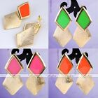 Punk Gold Tone Chic Korean Style Rhombus Geometric Alloy Dangle Earring Ear Stud