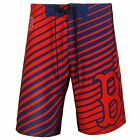 Boston Red Sox Stripes Polyester Board Shorts Swim Trunks By Klew MLB