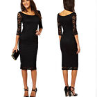 Sexy Women 3/4 Sleeves Floral Lace Slim Bodycon Cocktail Party Evening Dress US