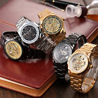 5Colors Cutting Bezel Design Stainless Band Mens Skeleton Mechanical Wrist Watch