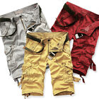 Cool Mens Summer Casual Cotton Solid Color Cargo Shorts Baggy Combat Short