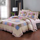 Checked Floral Quilted Bedspreads Queen King Size Patchwork Coverlet Set Cotton