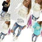 Fashion Womens Loose Pullover T Shirt Long Sleeve Cotton Tops Shirt Blouse TXST