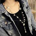 Luxury Women Pearl Flower Sweater Chain Long Pendant Necklace Jewelry PHNG