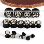 """Pair 6G-9/16"""" Acrylic Number 13 Skull Screw Ear Tunnel Plugs Expander Stretcher"""