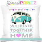 PERSONALISED CAMPER VAN CARAVAN CUSHION ADD OWN INITIALS VW RETRO GIFT CHRSITMAS