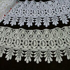 """4"""" Off White or White Floral Venice Lace Trim Dangling Teardrop Fringe By Yard"""