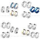 6pcs 18G Men's Women's 4mm Silver Gold Steel Hoop Huggie Ear Studs Earrings Gift