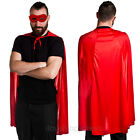 RED SUPERHERO CAPE AND MASK ADULT HALLOWEEN COMIC BOOK FILM FANCY DRESS TV MOVIE