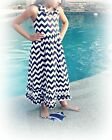 Girl Long Maxi Chevron Summer Cotton Dress Navy Blue and white 10-12 years