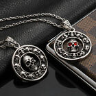 AgentX Stylish Skull Circle Pendant Punk Men's Necklace Rock&Roll Fashion Chains