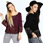 SUMMER BOHO WOEMN LACE CROCHET 3/4 SLEEVE T SHIRT LOOSE CASUAL BEACH TOPS BLOUSE