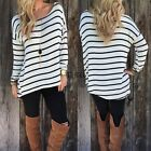 Women Long Sleeve T-shirt Black+ White Stripe Casual Loose Tops Blouse Fashion T