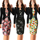 Womens Vintage Peplum Work Office Business Casual Party Sheath Pencil Dress New