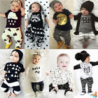 2pcs Newborn Toddler Kids Baby Boys Girls T-shirt Tops+Pants Outfits Clothes Set