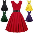 Womens 50s 60s Style Vintage Sweetheart V-Back High Stretchy Party Picnic Dress