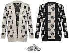 New Womens Ladies Fashion Skull  Print Knitted Long Sleeve Jumper Open Cardigan