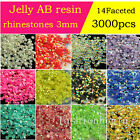 3000 ss12 3mm Crystal FlatBack Non-hotfix resin AB Rhinestones Nail Art beads pk