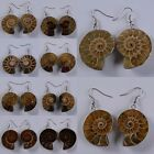 27-39mm Ammonite fossil dangle earrings