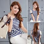Elegant Stripe Flower Lace With Pockets T-shirt Shirt Top Blouse Blue