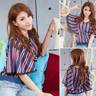 Elegant Batwing Sleeve Stripe With Lace T-shirt Shirt Top Blouse Blue Red