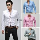 Mens Luxury Stylish Casual Dress Slim Fit T-Shirts Fashion Long Sleeve Casual TX