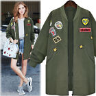 Womens Bomber Long Jackets Parka Overcoat Patched Badges Outwear Coats Plus Size