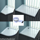 Shower Enclosure Tray Slimline 40mm Doors Rectangle Square Stone Free Waste Trap