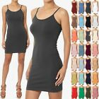 TheMogan Women's Sleeveless Spaghetti Strap Cami Slip Short Mini Bodycon Dress