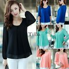 Summer Women Fashion Loose Chiffon Tops Long Sleeve Shirt Casual Blouse 4 Colors