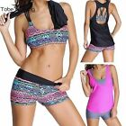 Womens Plus Size 3pcs Push Up Bikini Set Swimwear Bathing Suit Swimsuit Tankini
