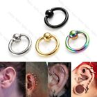 "4 Pair Mix Size Men Women Steel 16G 1/4""-1/2"" Ear Tragus Helix Hoop Ring Earring"
