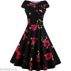 50'S 60'S Rockabilly Floral Vintage Style Swing Pinup Housewife Party Ball Dress