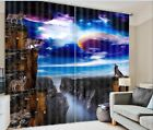 3D 2 Panel Curtain Set Wolves Howling Full Moon Blackout Style Beautiful Animals