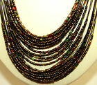 Glass seed bead multi layer necklace & 2 layer loop earring ladies gift set