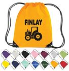 Personalised Tractor Drawstring Bag - Nylon Backpack  School Nursery Swim PE Gym