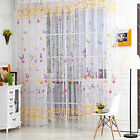 New Butterfly Printed Voile Door Window Balcony Sheer Panel Screen Curtains