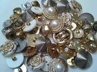 SET OF 50 MIXED VINTAGE STYLE GOLD AND SILVER TONE BUTTONS sewing crafts retro
